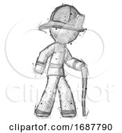 Sketch Firefighter Fireman Man Walking With Hiking Stick