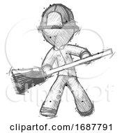 Sketch Firefighter Fireman Man Broom Fighter Defense Pose