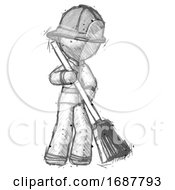 Sketch Firefighter Fireman Man Sweeping Area With Broom