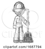 Sketch Firefighter Fireman Man Standing With Broom Cleaning Services