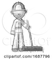 Sketch Firefighter Fireman Man Standing With Industrial Broom