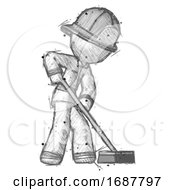 Sketch Firefighter Fireman Man Cleaning Services Janitor Sweeping Side View
