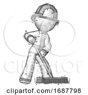 Sketch Firefighter Fireman Man Cleaning Services Janitor Sweeping Floor With Push Broom