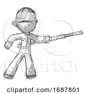 Sketch Firefighter Fireman Man Bo Staff Pointing Right Kung Fu Pose