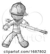 Sketch Firefighter Fireman Man Bo Staff Action Hero Kung Fu Pose