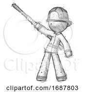 Sketch Firefighter Fireman Man Bo Staff Pointing Up Pose