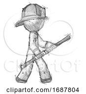 Sketch Firefighter Fireman Man Holding Bo Staff In Sideways Defense Pose