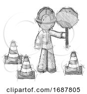 Poster, Art Print Of Sketch Firefighter Fireman Man Holding Stop Sign By Traffic Cones Under Construction Concept