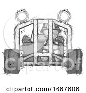 Sketch Firefighter Fireman Man Riding Sports Buggy Front View