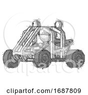 Sketch Firefighter Fireman Man Riding Sports Buggy Side Angle View