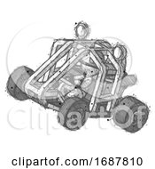 Sketch Firefighter Fireman Man Riding Sports Buggy Side Top Angle View