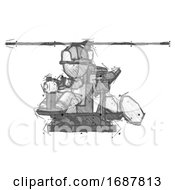 Sketch Firefighter Fireman Man Flying In Gyrocopter Front Side Angle View