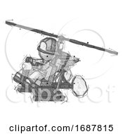 Sketch Firefighter Fireman Man Flying In Gyrocopter Front Side Angle Top View
