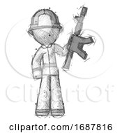 Sketch Firefighter Fireman Man Holding Automatic Gun