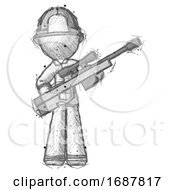 Sketch Firefighter Fireman Man Holding Sniper Rifle Gun