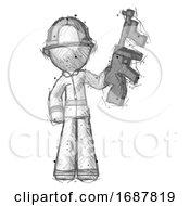Sketch Firefighter Fireman Man Holding Tommygun