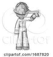 Sketch Firefighter Fireman Man Suicide Gun Pose