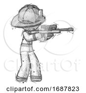 Sketch Firefighter Fireman Man Shooting Sniper Rifle