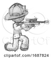 Sketch Firefighter Fireman Man Kneeling Shooting Sniper Rifle