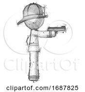 Sketch Firefighter Fireman Man Firing A Handgun