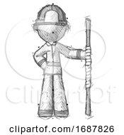 Sketch Firefighter Fireman Man Holding Staff Or Bo Staff