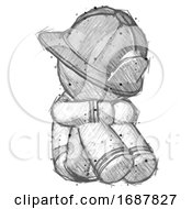 Sketch Firefighter Fireman Man Sitting With Head Down Facing Angle Right