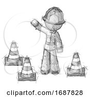 Poster, Art Print Of Sketch Firefighter Fireman Man Standing By Traffic Cones Waving