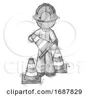 Poster, Art Print Of Sketch Firefighter Fireman Man Holding A Traffic Cone