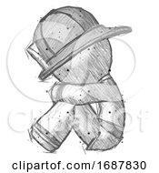 Sketch Firefighter Fireman Man Sitting With Head Down Facing Sideways Left