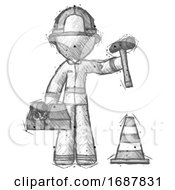 Sketch Firefighter Fireman Man Under Construction Concept Traffic Cone And Tools