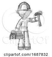 Sketch Firefighter Fireman Man Holding Tools And Toolchest Ready To Work