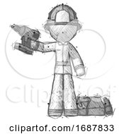 Sketch Firefighter Fireman Man Holding Drill Ready To Work Toolchest And Tools To Right