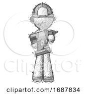 Sketch Firefighter Fireman Man Holding Large Drill
