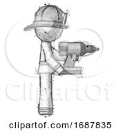 Sketch Firefighter Fireman Man Using Drill Drilling Something On Right Side