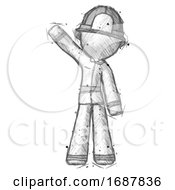 Sketch Firefighter Fireman Man Waving Emphatically With Right Arm