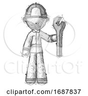 Sketch Firefighter Fireman Man Holding Wrench Ready To Repair Or Work