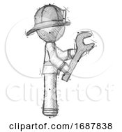 Sketch Firefighter Fireman Man Using Wrench Adjusting Something To Right