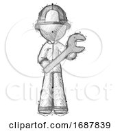Sketch Firefighter Fireman Man Holding Large Wrench With Both Hands