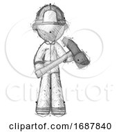 Sketch Firefighter Fireman Man Holding Hammer Ready To Work