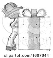 Sketch Firefighter Fireman Man Gift Concept Leaning Against Large Present
