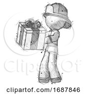 Sketch Firefighter Fireman Man Presenting A Present With Large Bow On It