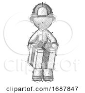 Sketch Firefighter Fireman Man Gifting Present With Large Bow Front View