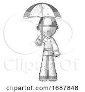Sketch Firefighter Fireman Man Holding Umbrella