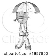 Sketch Firefighter Fireman Man Woman Walking With Umbrella