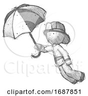 Sketch Firefighter Fireman Man Flying With Umbrella