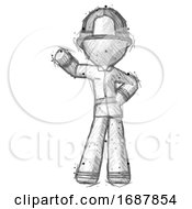 Sketch Firefighter Fireman Man Waving Right Arm With Hand On Hip