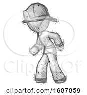 Sketch Firefighter Fireman Man Suspense Action Pose Facing Left
