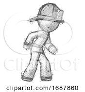 Sketch Firefighter Fireman Man Suspense Action Pose Facing Right