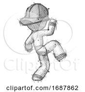 Sketch Firefighter Fireman Man Kick Pose Start