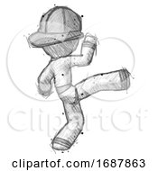 Sketch Firefighter Fireman Man Kick Pose